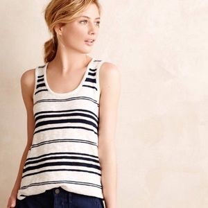 Anthropologie Moth Navy & White Knit Tank